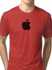 Apple | Black Logo | White Background | High Quality Tri-blend T-Shirt