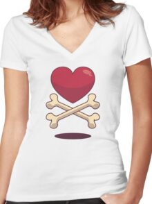 bone up on love Women's Fitted V-Neck T-Shirt