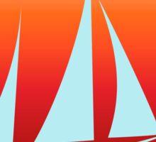 Blue Sailboat on Orange Gradient Sticker