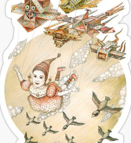 kite girl fly Sticker