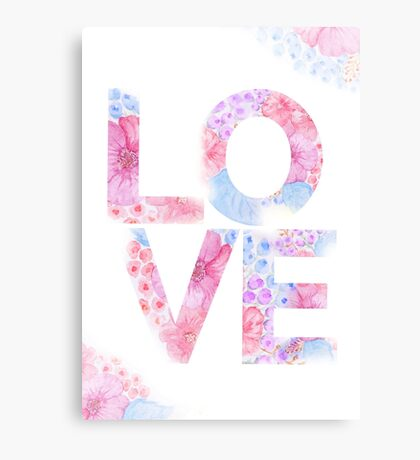 Floral Watercolor Love Typography Canvas Print