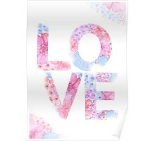 Floral Watercolor Love Typography Poster