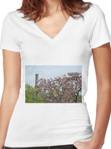 Blossoms and Watchers Women's Fitted V-Neck T-Shirt