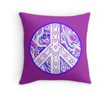 Circle of Peace Tangle with Colours Var 3 Throw Pillow