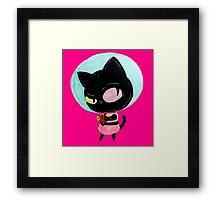 cookie cat's got a raygun Framed Print