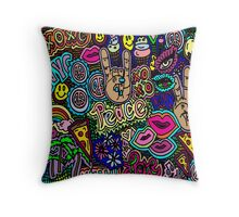 Peace signs and Pieces of Pizza Throw Pillow