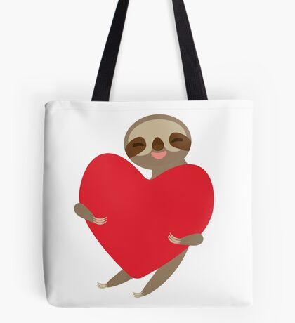 sloth with red heart Tote Bag