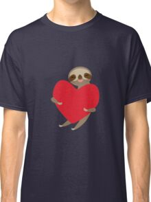 sloth with red heart Classic T-Shirt