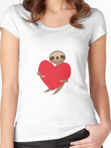 sloth with red heart Women's Fitted Scoop T-Shirt