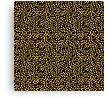 Floral gold pattern on black background Canvas Print