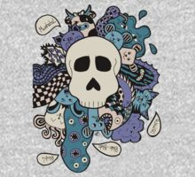 Skull Doodle (Variation #2; Purple, Blue, Cream)  Baby Tee