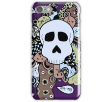 Skull Doodle (Variation #1; Blue, Brown, Green) iPhone Case/Skin