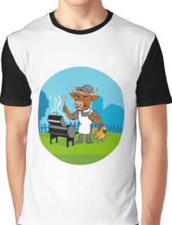 Clergy Cow Minister Barbecue Chef Rooster Caricature Graphic T-Shirt