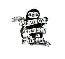 SLOTH - NAP ALL DAY, SLEEP ALL NIGHT, PARTY NEVER Photographic Print