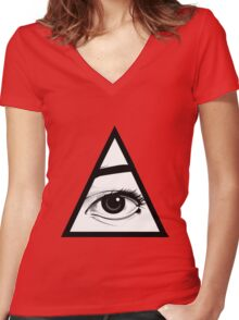 All Seeing Eye Women's Fitted V-Neck T-Shirt