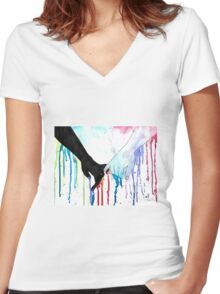 Love Sees No Color Women's Fitted V-Neck T-Shirt