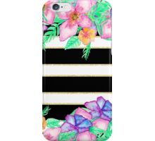 Stylish black white gold stripes exotic floral iPhone Case/Skin