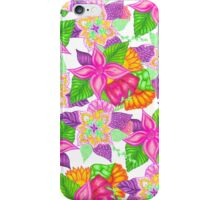 Colorful neon pink green floral handdrawn pattern iPhone Case/Skin