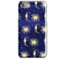 Retro sun moon and stars pattern blue watercolor iPhone Case/Skin