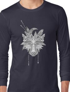 Boho wolf indian totem head Long Sleeve T-Shirt