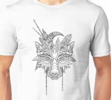 Boho wolf indian totem head Unisex T-Shirt