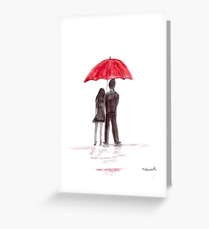 Love couple with red umbrella Greeting Card