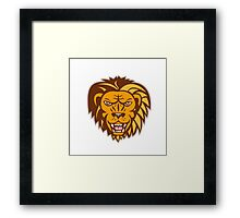 Angry Lion Big Cat Growling Head Retro Framed Print