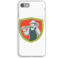 Mechanic Worker Holding Spanner Shield Retro iPhone Case/Skin