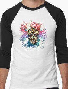 Mexican Sugar Skull, Day of the Dead, Dias de los muertos Men's Baseball ¾ T-Shirt
