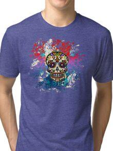 Mexican Sugar Skull, Day of the Dead, Dias de los muertos Tri-blend T-Shirt