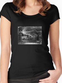Nikola Tesla - Bolts Of Electricity Women's Fitted Scoop T-Shirt