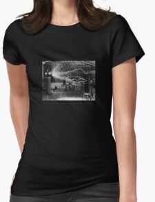 Nikola Tesla - Bolts Of Electricity Womens Fitted T-Shirt