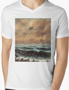 Gustave Courbet - Autumn Sea 1867 , Seascape Mens V-Neck T-Shirt