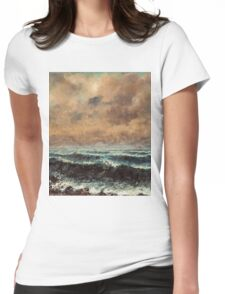 Gustave Courbet - Autumn Sea 1867 , Seascape Womens Fitted T-Shirt