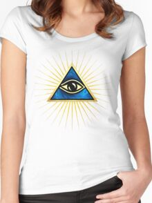 All Seeing Eye Of God, Flames - Symbol Omniscience Women's Fitted Scoop T-Shirt