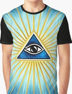 All Seeing Eye Of God, Flames - Symbol Omniscience Graphic T-Shirt