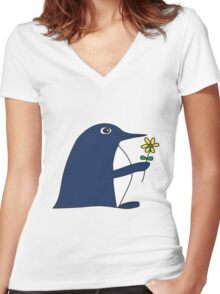 Flower Power Penguin Women's Fitted V-Neck T-Shirt