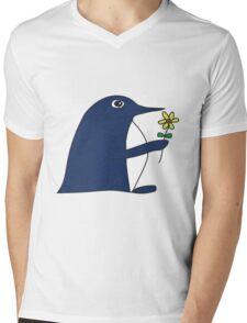 Flower Power Penguin Mens V-Neck T-Shirt