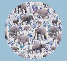 Sweet Elephants in Aqua, Purple, Cream and Grey One Piece - Short Sleeve