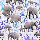 Sweet Elephants in Aqua, Purple, Cream and Grey by micklyn