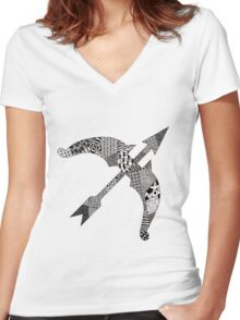 Zentangle Bow Women's Fitted V-Neck T-Shirt