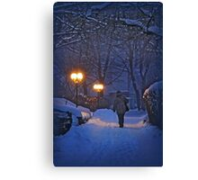 Winter night, coming home Canvas Print