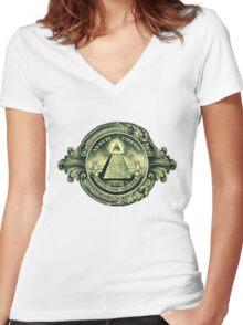 All seeing eye, pyramid, dollar, freemason, god Women's Fitted V-Neck T-Shirt