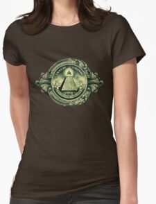 All seeing eye, pyramid, dollar, freemason, god Womens Fitted T-Shirt