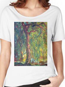1918-Claude Monet-Weeping Willow-99 x 120 Women's Relaxed Fit T-Shirt