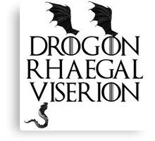 Drogon, Viserion and Rhaegal Canvas Print