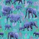 Sweet Elephants in Bright Teal, Pink and Purple by micklyn