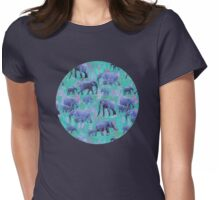 Sweet Elephants in Bright Teal, Pink and Purple Womens Fitted T-Shirt