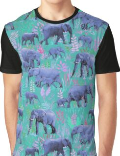 Sweet Elephants in Bright Teal, Pink and Purple Graphic T-Shirt