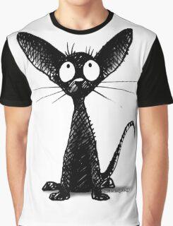 Funny Black Oriental Cat Graphic T-Shirt